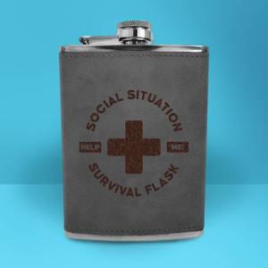 Social Situation Survival Flask - Grey Engraved Hip Flask - Grey