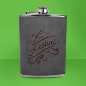 Sweet Sweet Alcohol Engraved Hip Flask - Grey