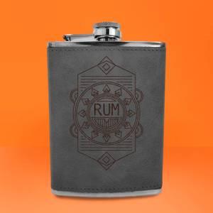 Rum Line Seal Engraved Hip Flask - Grey