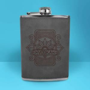 Vodka Line Seal Engraved Hip Flask - Grey