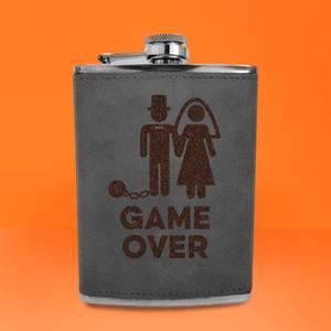 Groom Game Over Engraved Hip Flask - Grey