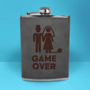 Bride Game Over Engraved Hip Flask - Grey