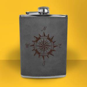 Vintage Compass Engraved Hip Flask - Grey