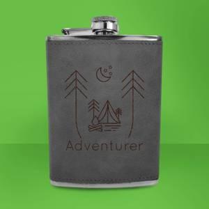 Night Time Campsite Adventurer Engraved Hip Flask - Grey