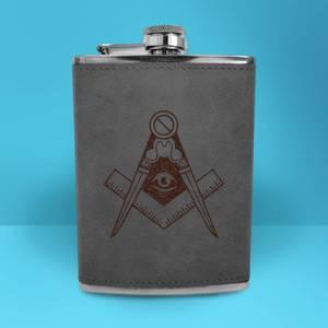 Illuminati Free Mason Symbol Engraved Hip Flask - Grey