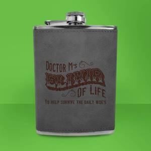 Doctor M's Elixir Of Life Engraved Hip Flask - Grey