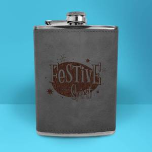 Festive Spirit Engraved Hip Flask - Grey
