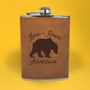 Bear Born To Roam Adventure Engraved Hip Flask - Brown