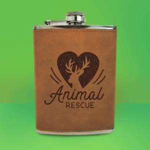 Love Heart Deer Animal Rescue Engraved Hip Flask - Brown