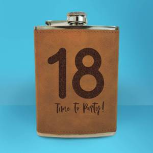 18 Time To Party! Engraved Hip Flask - Brown