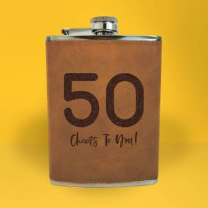 50 Cheers To You! Engraved Hip Flask - Brown