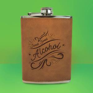 Sweet Sweet Alcohol Engraved Hip Flask - Brown