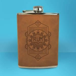 Rum Line Seal Engraved Hip Flask - Brown
