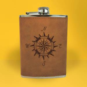 Vintage Compass Engraved Hip Flask - Brown