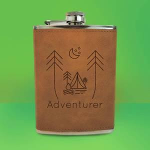 Night Time Campsite Adventurer Engraved Hip Flask - Brown