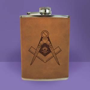 Illuminati Free Mason Symbol Engraved Hip Flask - Brown