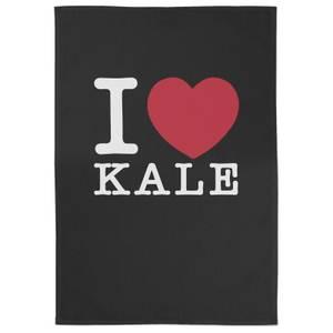 I Love Kale Cotton Black Tea Towel