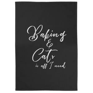 Baking And Cats Is All I Need Cotton Black Tea Towel