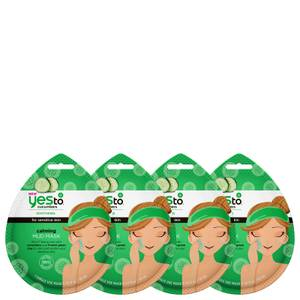 yes to Cucumber Calming Mud Single Use Mask (Pack of 4)