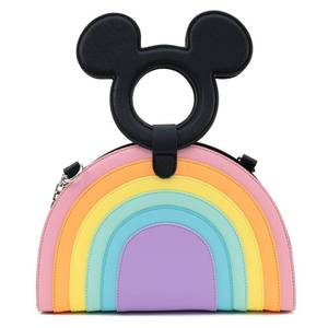 Loungefly Disney Mickey Mouse Pastel Rainbow Handle Cross Body Bag