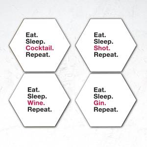 Eat. Sleep. Cocktail. Repeat Hexagonal Coaster Set