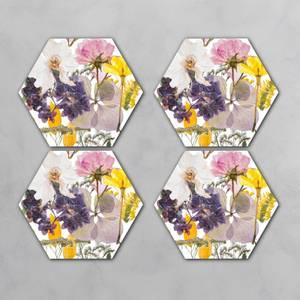 Pressed Flowers Hexagonal Coaster Set