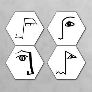 Faces Hexagonal Coaster Set