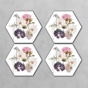 Pink And Purple Pressed Flowers Hexagonal Coaster Set