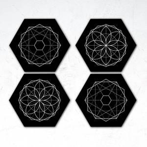 Symmetrical Circles Hexagonal Coaster Set