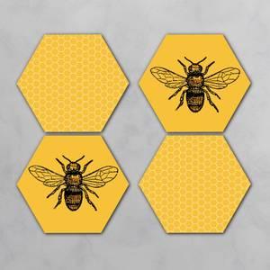 Bee Hive Hexagonal Coaster Set