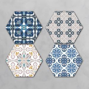 Blue Floor Tiles Hexagonal Coaster Set