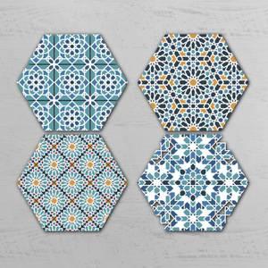 Moroccan Pattern Hexagonal Coaster Set