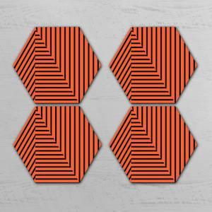 Orange Optical Illusion Hexagonal Coaster Set