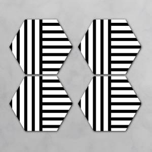 Black And White Lines Hexagonal Coaster Set