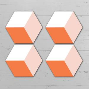 Orange Squares Hexagonal Coaster Set