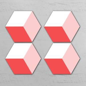 Pink Squares Hexagonal Coaster Set