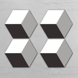 Black Squares Hexagonal Coaster Set