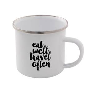 The Motivated Type Eat Well Travel Often Enamel Mug