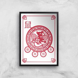 Chinese Zodiac Year Of The Rat Decorative Symbol Red Giclee Art Print