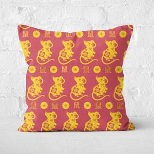 Repeat Chinese Rat Red and Gold Patterned Cushion Square Cushion