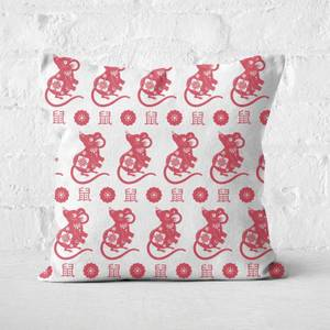 Repeat Chinese Rat Red Patterned Cushion Square Cushion