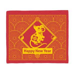 Happy New Year Spiral Rat Fleece Blanket