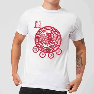Year Of The Rat Decorative Cut Out Red Men's T-Shirt - White