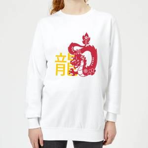 Chinese Zodiac Dragon Women's Sweatshirt - White