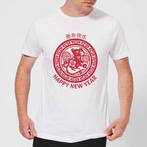 Year Of The Rat Decorative Circle Red Men's T-Shirt - White