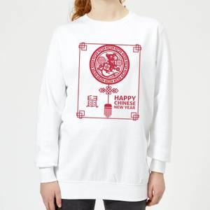 Happy Chinese New Year Red Women's Sweatshirt - White