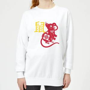 Chinese Zodiac Rat Women's Sweatshirt - White
