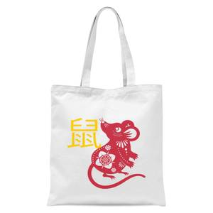 Chinese Zodiac Rat Tote Bag - White