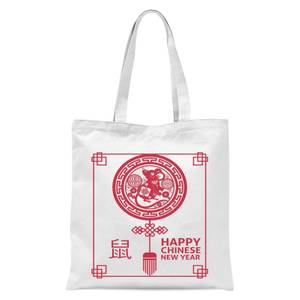Happy Chinese New Year Red Tote Bag - White