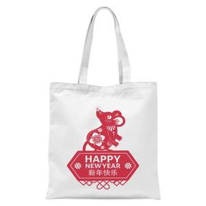 Happy New Year Symbol Red Tote Bag - White